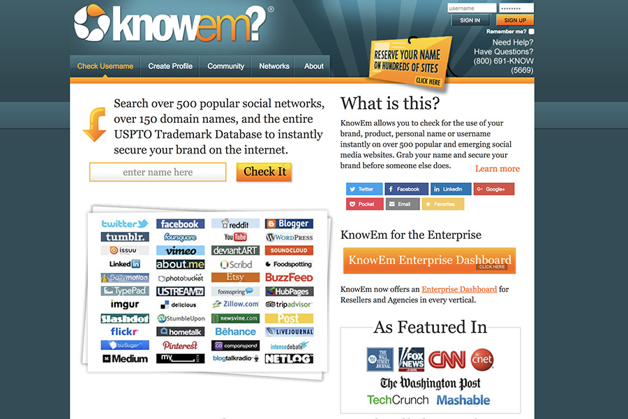 KnowEm, tu nombre único en la web social